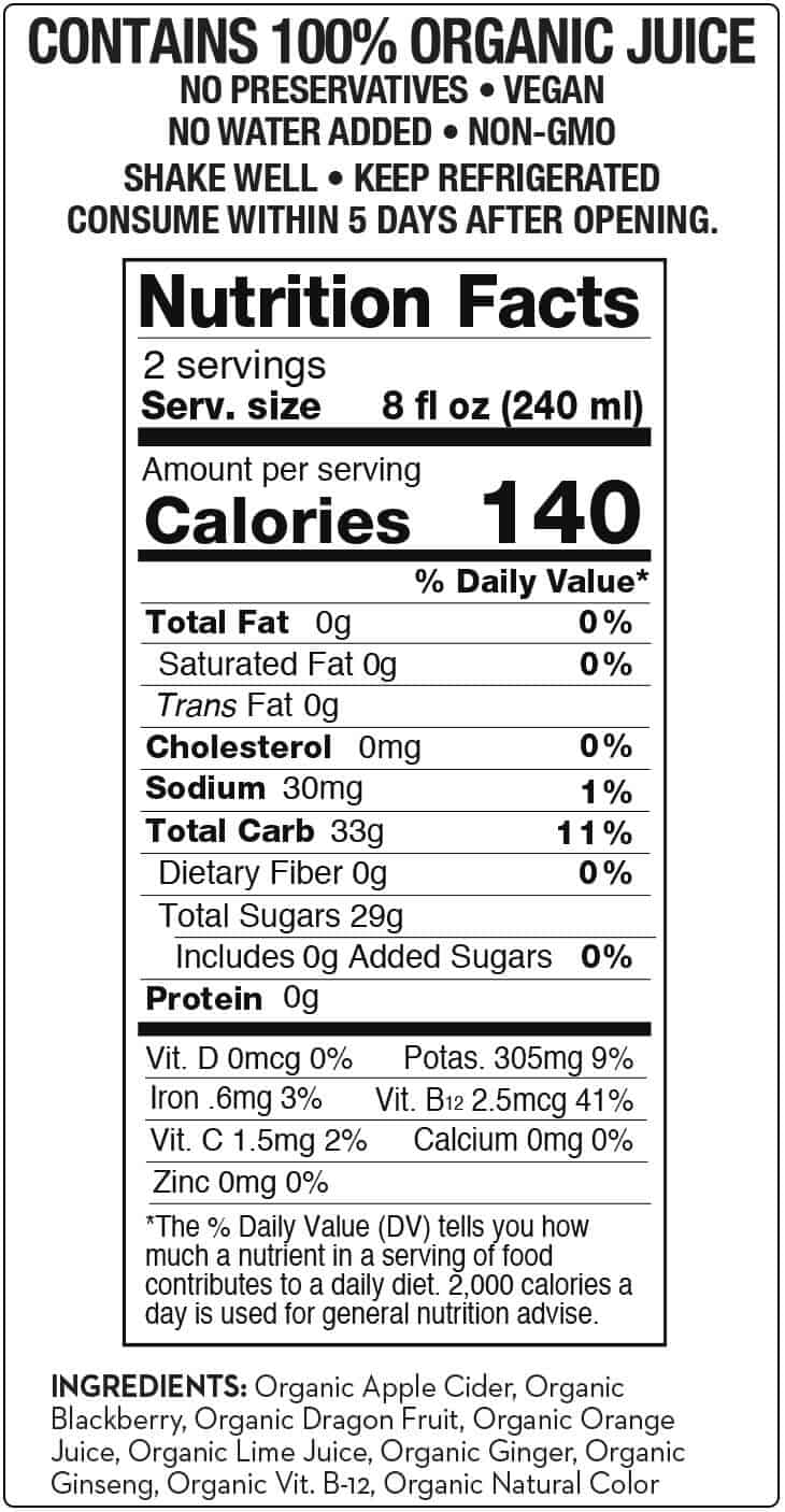 RawKarma Quick Fix Juice Nutrition Label